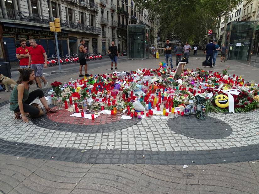 The Miró's pavement of the Ramblas (Barcelona), shrine to the memory